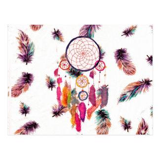 Motif de plumes de Dreamcatcher d'aquarelle de Carte Postale
