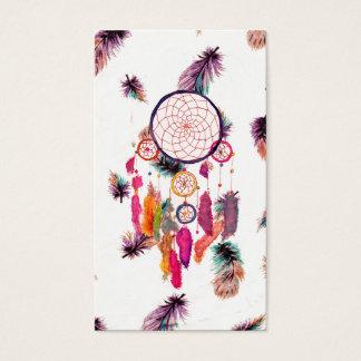 Motif de plumes de Dreamcatcher d'aquarelle de Cartes De Visite