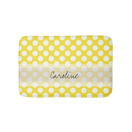 motif de point la mode blanc jaune de polka tapis de bain zazzle. Black Bedroom Furniture Sets. Home Design Ideas