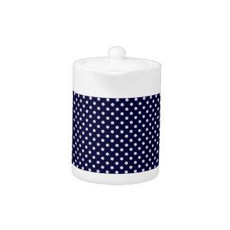 Motif de point blanc de polka de bleu marine