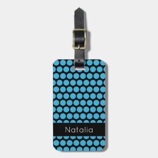 Motif de point bleu de polka d'Aqua lumineux Étiquette Pour Bagages