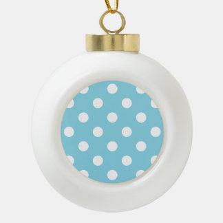 Motif de point bleu et blanc de polka boule en céramique