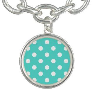 Motif de point bleu turquoise de polka bracelets avec breloques