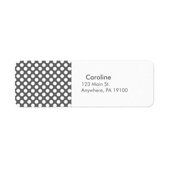 Motif de point de polka de blanc gris de charbon étiquettes d'adresse retour