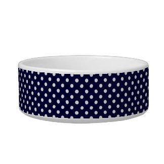 Motif de point de polka de bleu marine et de blanc écuelle