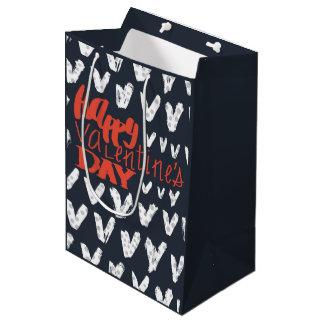 Motif de point de polka de typographie de heureuse sac cadeau moyen