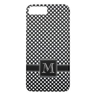 Motif de point de polka et monogramme mignons coque iPhone 7 plus
