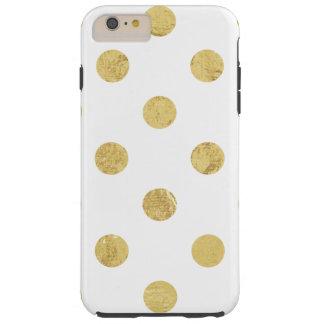 Motif de point élégant de polka de feuille d'or - coque tough iPhone 6 plus