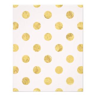 Motif de point élégant de polka de feuille d'or - prospectus 11,4 cm x 14,2 cm