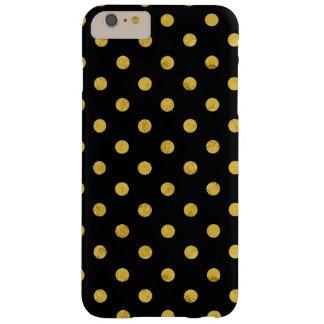 Motif de point élégant de polka de noir et de coque iPhone 6 plus barely there