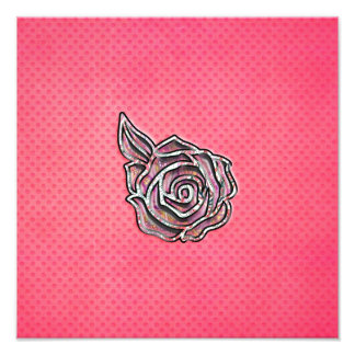 Motif de point floral girly mignon rose de polka impression photo