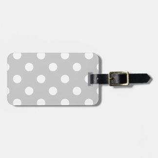 Motif de point gris de polka étiquette à bagage