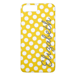 Motif de point jaune de polka avec le nom gris coque iPhone 7 plus