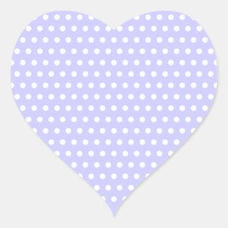 Motif de point lilas et blanc de polka. Tacheté Autocollant En Cœur