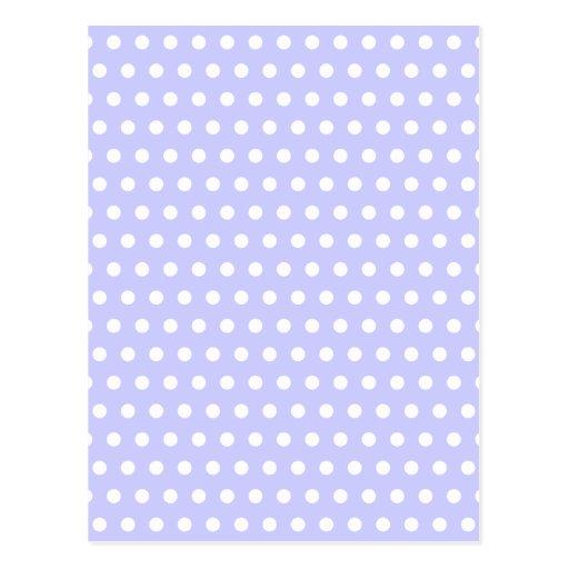 Motif de point lilas et blanc de polka. Tacheté Carte Postale