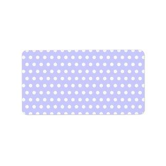 Motif de point lilas et blanc de polka. Tacheté Étiquette D'adresse