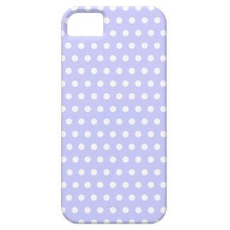 Motif de point lilas et blanc de polka. Tacheté Étui iPhone 5