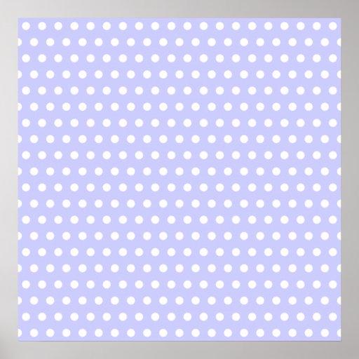 Motif de point lilas et blanc de polka. Tacheté Poster