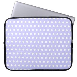 Motif de point lilas et blanc de polka. Tacheté Trousse Pour Ordinateur Portable
