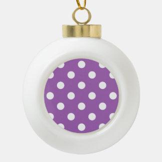 Motif de point pourpre et blanc de polka boule en céramique