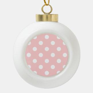 Motif de point rose et blanc de polka boule en céramique