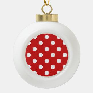 Motif de point rouge et blanc de polka boule en céramique