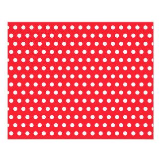 Motif de point rouge et blanc de polka. Tacheté Prospectus 11,4 Cm X 14,2 Cm