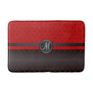 Motif de point rouge et noir de polka tapis de bain