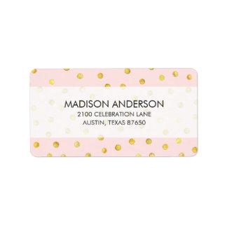 Motif de points élégant de confettis de rose et de étiquettes d'adresse
