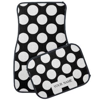 Motif de pois blanc noir moderne tapis de voiture