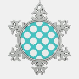Motif de pois blanc turquoise moderne ornement flocon de neige pewter