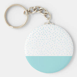 Motif de pois bleu moderne d'aquarelle porte-clé rond