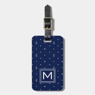 Motif de pois d'ancre de monogramme étiquette pour bagages