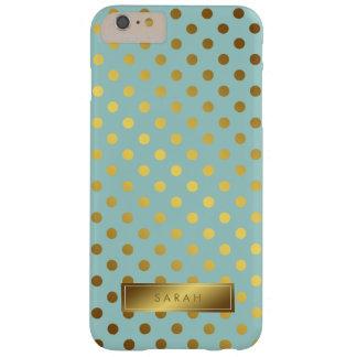 Motif de pois de feuille d'or de Faux personnalisé Coque iPhone 6 Plus Barely There