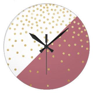 motif de pois de scintillement d'or, triangles grande horloge ronde