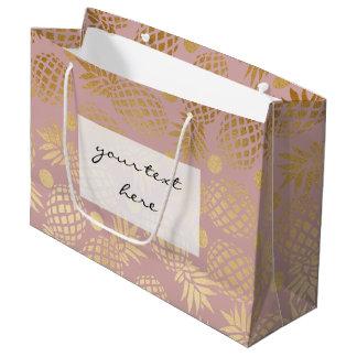 motif de pois élégant d'ananas de feuille d'or grand sac cadeau