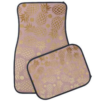 motif de pois élégant d'ananas de feuille d'or tapis de voiture