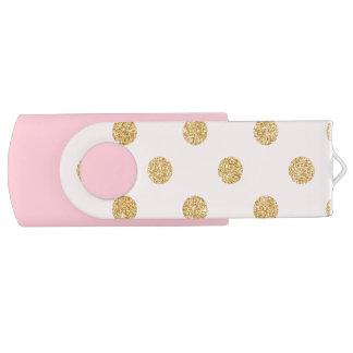 Motif de pois élégant de scintillement de rose et clé USB 2.0 swivel