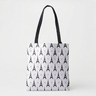 Motif de pois et de coeurs de Tour Eiffel Tote Bag