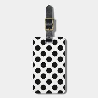 Motif de pois noir et blanc étiquettes bagages