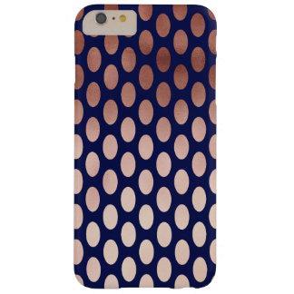 motif de pois rose d'aluminium de bleu marine d'or coque iPhone 6 plus barely there