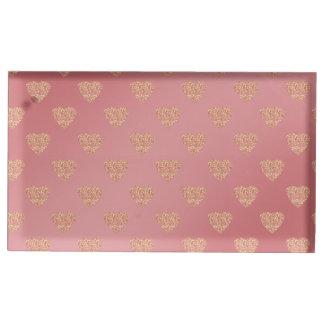 motif de pois rose de coeurs d'amour de porte-cartes de  table