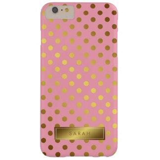 Motif de pois rose de feuille d'or de Faux Coque Barely There iPhone 6 Plus