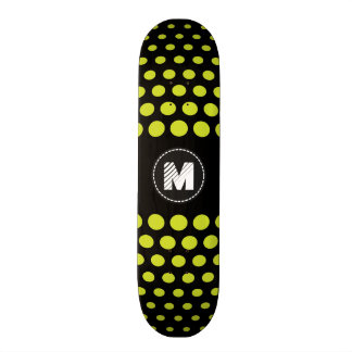 Motif de pois vert acide de monogramme plateau de skateboard