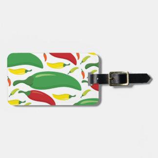 Motif de poivre de piment étiquette pour bagages