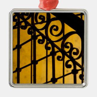 Motif de porte de fer en jaune, Cuba Ornement Carré Argenté
