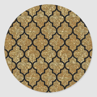 Motif de Quatrefoil de Marocain de scintillement Sticker Rond