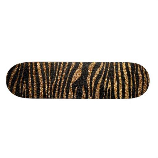 Motif de rayure de zèbre d'or (scintillement de fa plateaux de skateboards customisés