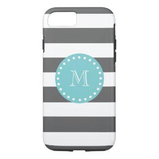 Motif de rayures de blanc gris de charbon de bois, coque iPhone 7