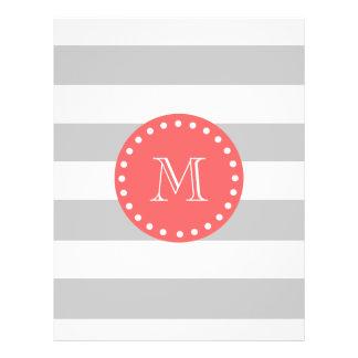 Motif de rayures de blanc gris, monogramme de cora prospectus personnalisés